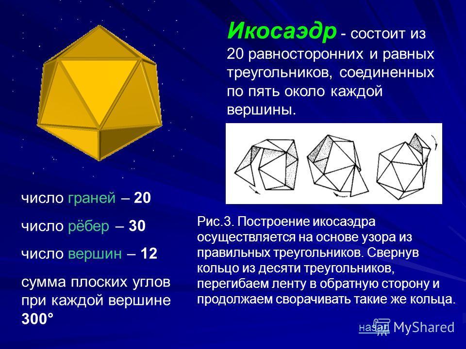 Октаэдр - правильный восьмигранник. Он состоит из восьми равносторонних и равных между собой треугольников, соединенных по четыре у каждой вершины. число граней – 8 число рёбер – 12 число вершин – 6 сумма плоских углов при каждой вершине 240 ° назад