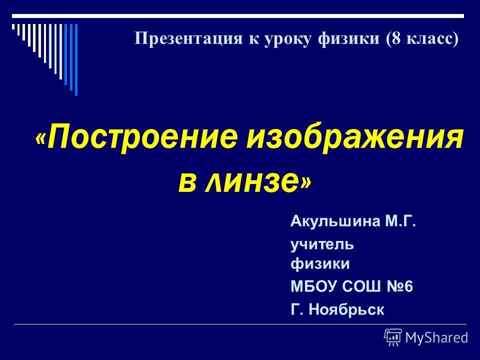 «Построение изображения в линзе» Акульшина М.Г. учитель физики МБОУ СОШ 6 Г. Ноябрьск Презентация к уроку физики (8 класс)