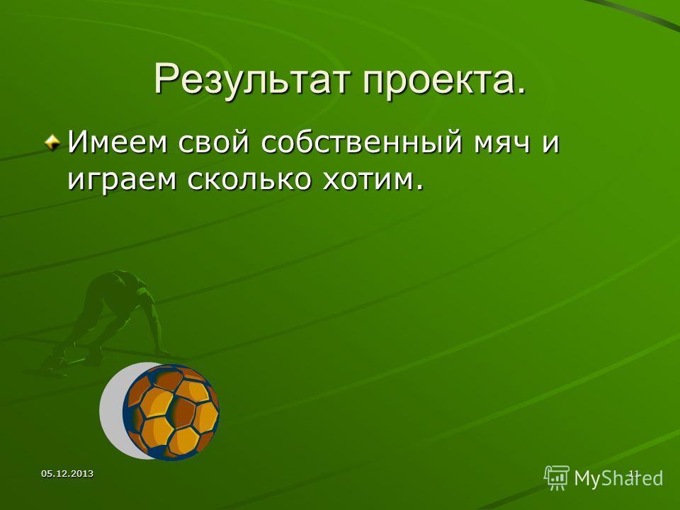 05.12.201311 Результат проекта. Имеем свой собственный мяч и играем сколько хотим.