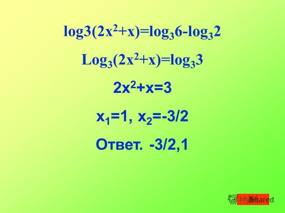 log3(2x 2 +x)=log 3 6-log 3 2 Log 3 (2x 2 +x)=log 3 3 2x 2 +x=3 x 1 =1, x 2 =-3/2 Ответ. -3/2,1