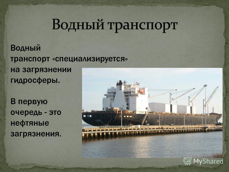 Водный транспорт «специализируется» на загрязнении гидросферы. В первую очередь - это нефтяные загрязнения.