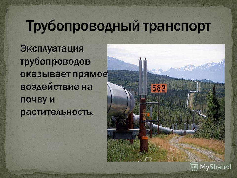 Эксплуатация трубопроводов оказывает прямое воздействие на почву и растительность.