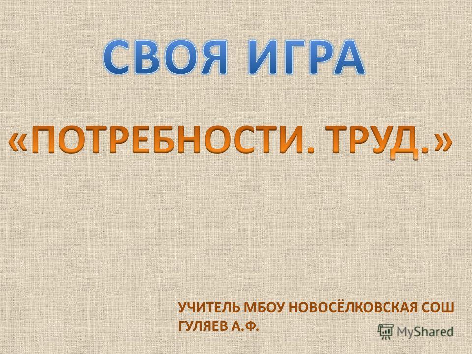 УЧИТЕЛЬ МБОУ НОВОСЁЛКОВСКАЯ СОШ ГУЛЯЕВ А.Ф.