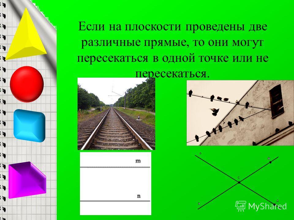 Если на плоскости проведены две различные прямые, то они могут пересекаться в одной точке или не пересекаться.