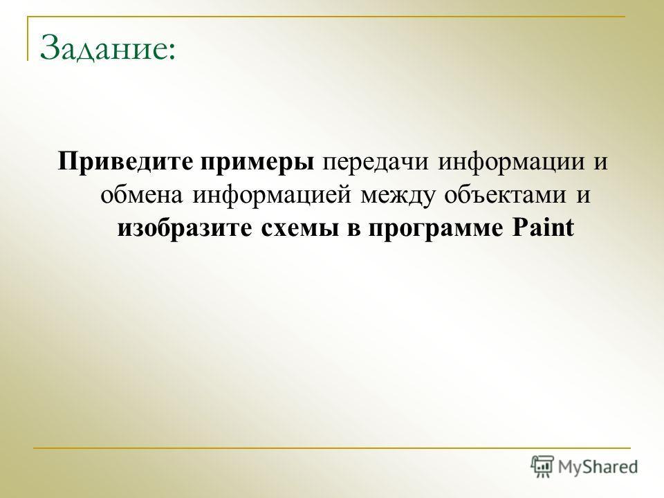 Задание: Приведите примеры передачи информации и обмена информацией между объектами и изобразите схемы в программе Paint