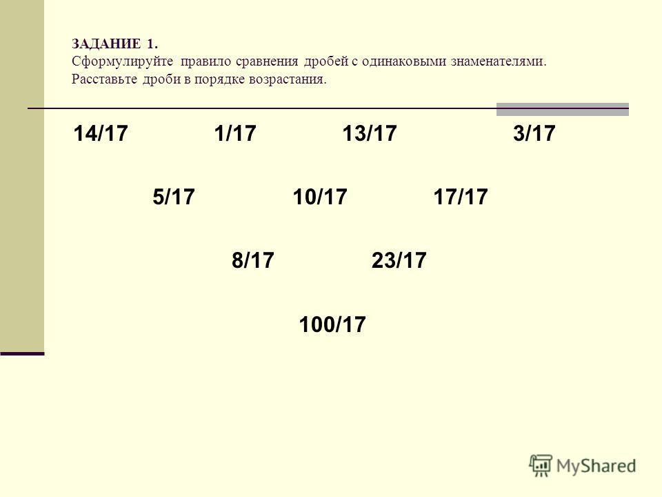 ЗАДАНИЕ 1. Сформулируйте правило сравнения дробей с одинаковыми знаменателями. Расставьте дроби в порядке возрастания. 14/17 1/17 13/17 3/17 5/17 10/17 17/17 8/17 23/17 100/17