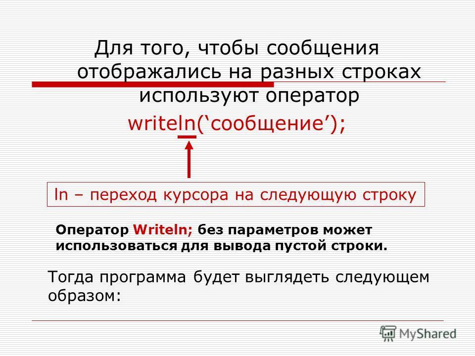 Для того, чтобы сообщения отображались на разных строках используют оператор writeln(сообщение); ln – переход курсора на следующую строку Тогда программа будет выглядеть следующем образом: Оператор Writeln; без параметров может использоваться для выв