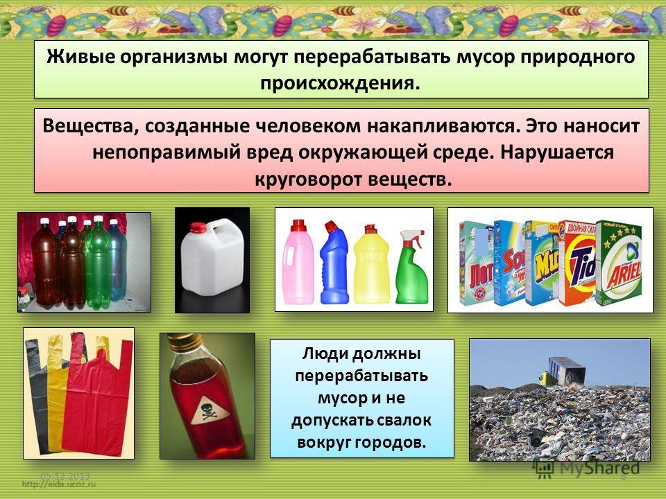 Живые организмы могут перерабатывать мусор природного происхождения. Вещества, созданные человеком накапливаются. Это наносит непоправимый вред окружающей среде. Нарушается круговорот веществ. Вещества, созданные человеком накапливаются. Это наносит