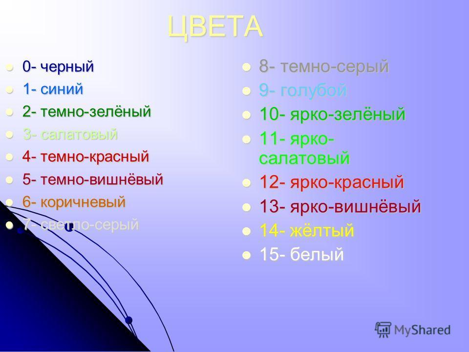 ЦВЕТА 0- черный 0- черный 1- синий 1- синий 2- темно-зелёный 2- темно-зелёный 3- салатовый 3- салатовый 4- темно-красный 4- темно-красный 5- темно-вишнёвый 5- темно-вишнёвый 6- коричневый 6- коричневый 7- светло-серый 7- светло-серый 8- темно-серый 8