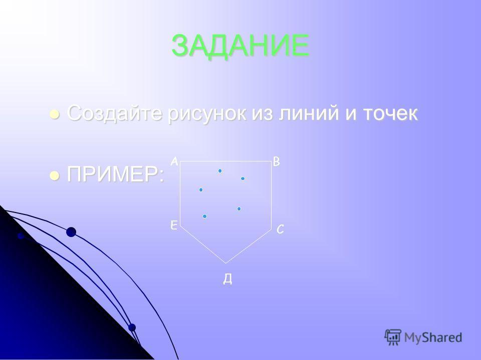 ЗАДАНИЕ Создайте рисунок из линий и точек Создайте рисунок из линий и точек ПРИМЕР: ПРИМЕР: АВ Е Д С
