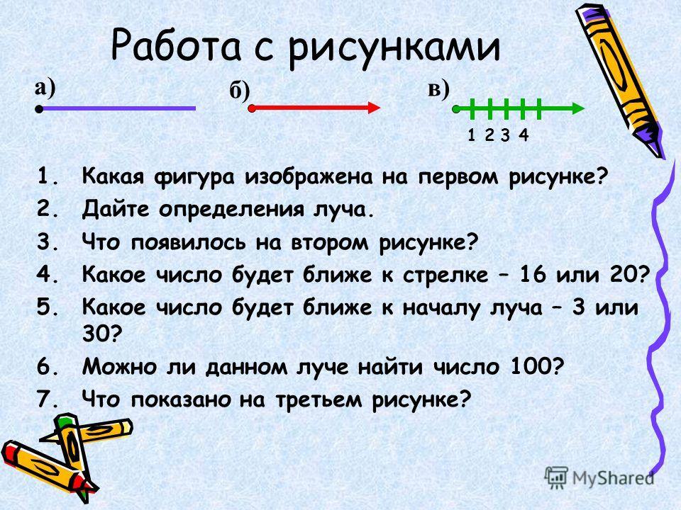 Работа с рисунками а) 1.Какая фигура изображена на первом рисунке? 2.Дайте определения луча. 3.Что появилось на втором рисунке? 4.Какое число будет ближе к стрелке – 16 или 20? 5.Какое число будет ближе к началу луча – 3 или 30? 6.Можно ли данном луч