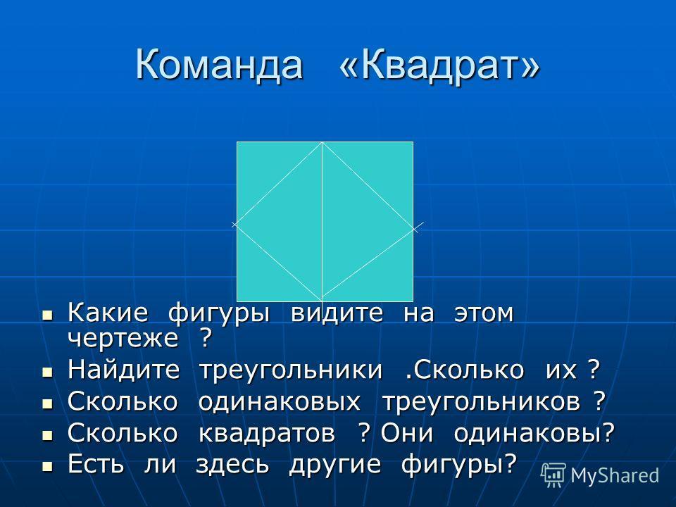 Команда «Квадрат» Какие фигуры видите на этом чертеже ? Какие фигуры видите на этом чертеже ? Найдите треугольники.Сколько их ? Найдите треугольники.Сколько их ? Сколько одинаковых треугольников ? Сколько одинаковых треугольников ? Сколько квадратов