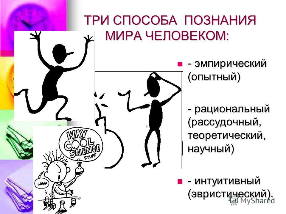 ТРИ СПОСОБА ПОЗНАНИЯ МИРА ЧЕЛОВЕКОМ: ТРИ СПОСОБА ПОЗНАНИЯ МИРА ЧЕЛОВЕКОМ: - эмпирический (опытный) - эмпирический (опытный) - рациональный (рассудочный, теоретический, научный) - рациональный (рассудочный, теоретический, научный) - интуитивный (эврис