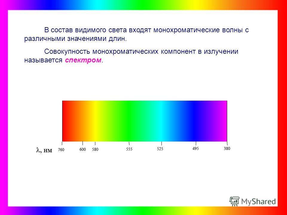 В состав видимого света входят монохроматические волны с различными значениями длин. Совокупность монохроматических компонент в излучении называется спектром.