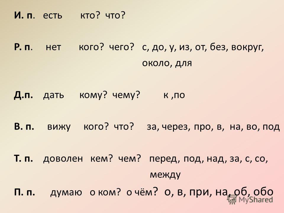 И. п. есть кто? что? Р. п. нет кого? чего? с, до, у, из, от, без, вокруг, около, для Д.п. дать кому? чему? к,по В. п. вижу кого? что? за, через, про, в, на, во, под Т. п. доволен кем? чем? перед, под, над, за, с, со, между П. п. думаю о ком? о чём ?