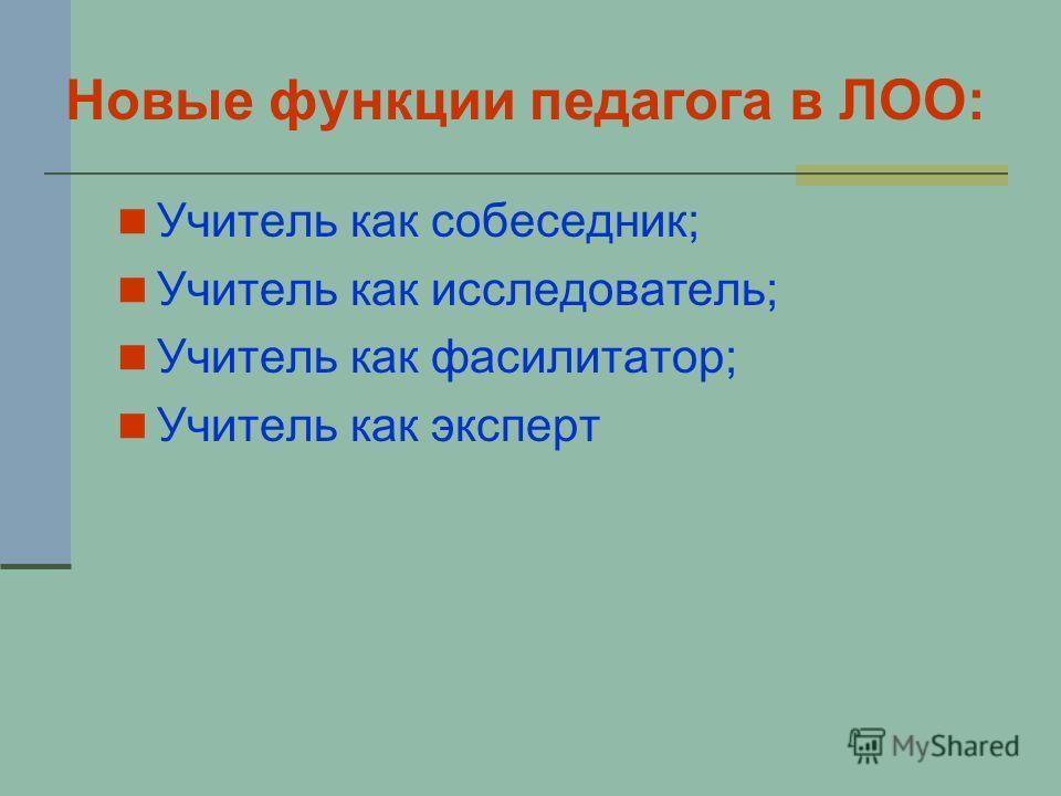Новые функции педагога в ЛОО: Учитель как собеседник; Учитель как исследователь; Учитель как фасилитатор; Учитель как эксперт