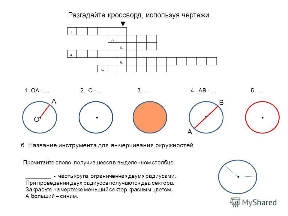 А В Разгадайте кроссворд, используя чертежи. О А 1. ОА - … 2. О - … 3. …. 4. АВ - … 5. … 6. Название инструмента для вычерчивания окружностей Прочитайте слово, получившееся в выделенном столбце. ________ - часть круга, ограниченная двумя радиусами. П