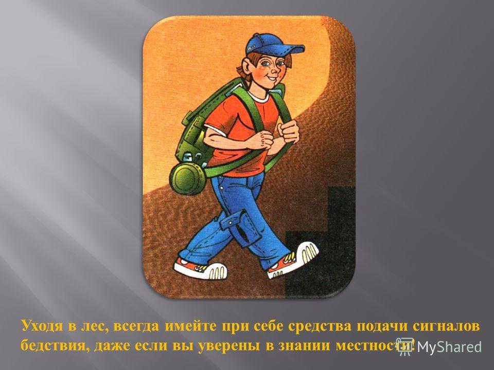 Уходя в лес, всегда имейте при себе средства подачи сигналов бедствия, даже если вы уверены в знании местности !