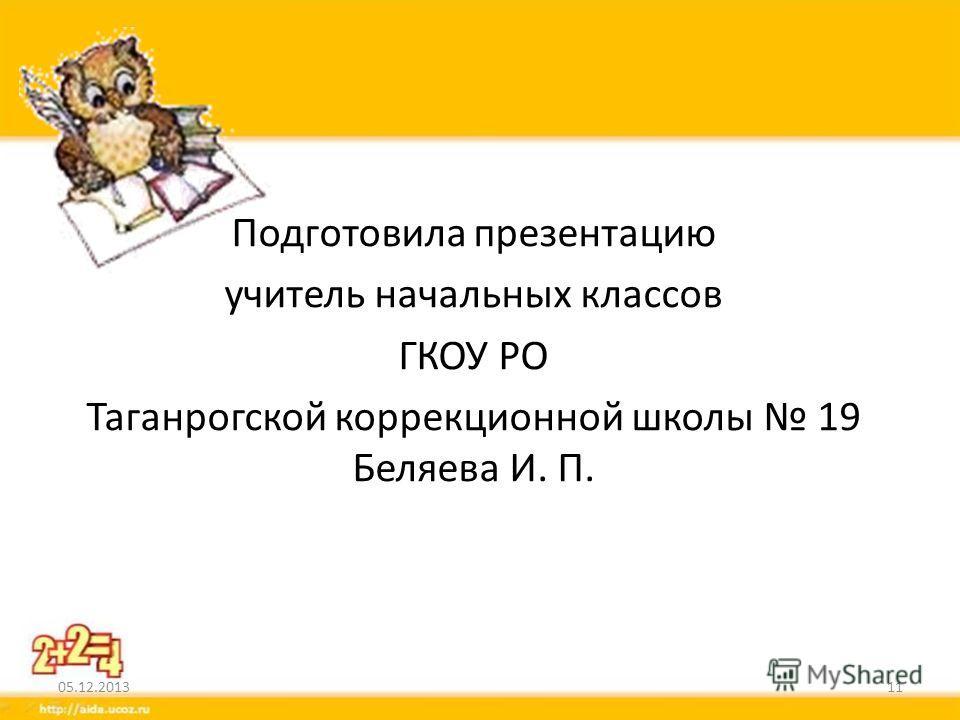 Подготовила презентацию учитель начальных классов ГКОУ РО Таганрогской коррекционной школы 19 Беляева И. П. 05.12.201311