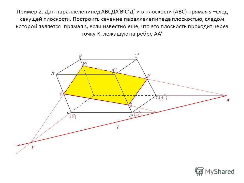 Пример 2. Дан параллелепипед АВСДАВСД и в плоскости (АВС) прямая s –след секущей плоскости. Построить сечение параллелепипеда плоскостью, следом которой является прямая s, если известно еще, что это плоскость проходит через точку K, лежащую на ребре