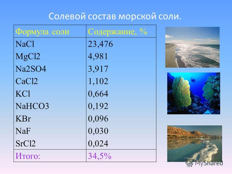 Формула солиСодержание, % NaCl MgCl2 Na2SO4 СaCl2 KCl NaHCO3 KBr NaF SrCl2 23,476 4,981 3,917 1,102 0,664 0,192 0,096 0,030 0,024 Итого:34,5% Солевой состав морской соли.