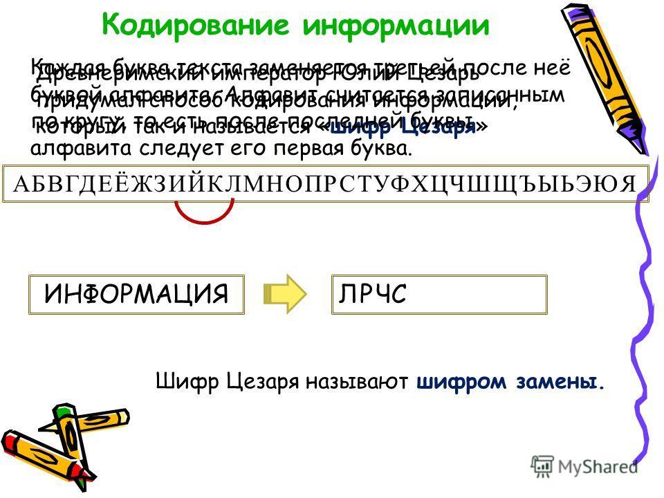 Кодирование информации Древнеримский император Юлий Цезарь придумал способ кодирования информации, который так и называется «шифр Цезаря» Каждая буква текста заменяется третьей после неё буквой алфавита. Алфавит считается записанным по кругу, то есть