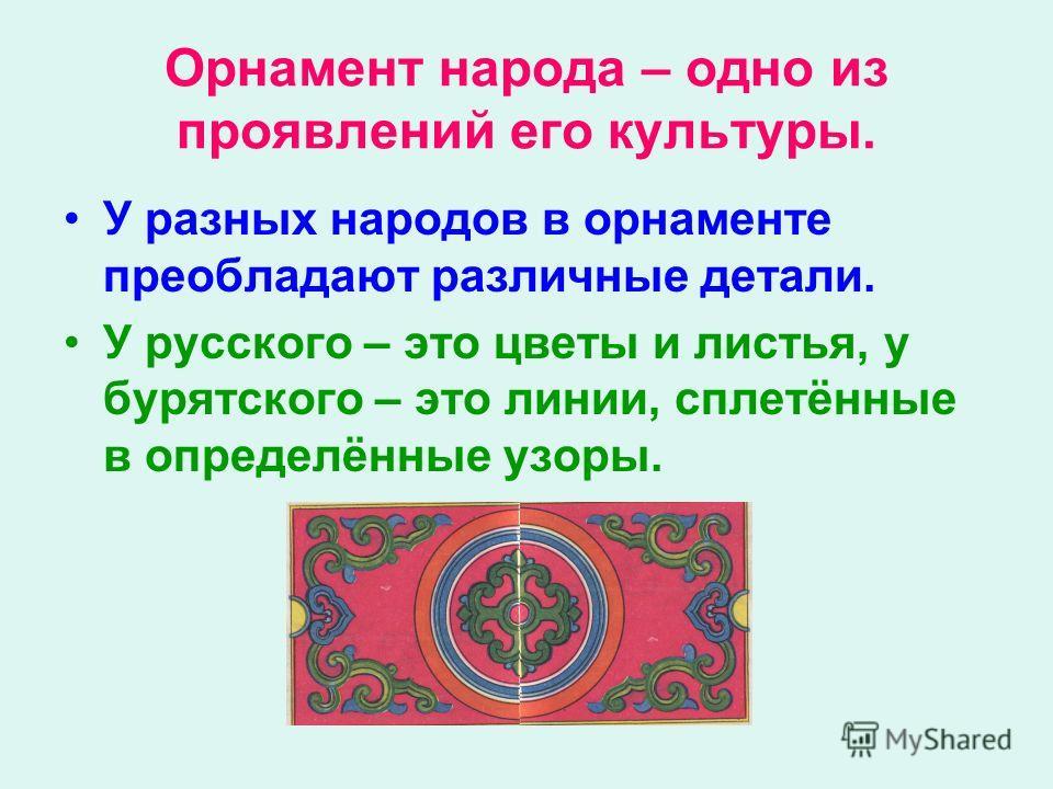 Орнамент народа – одно из проявлений его культуры. У разных народов в орнаменте преобладают различные детали. У русского – это цветы и листья, у бурятского – это линии, сплетённые в определённые узоры.