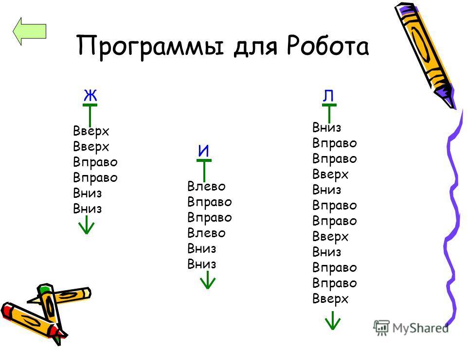 Программы для Робота Вверх Вправо Вниз Влево Вправо Влево Вниз Вправо Вверх Вниз Вправо Вверх Вниз Вправо Вверх Ж И Л