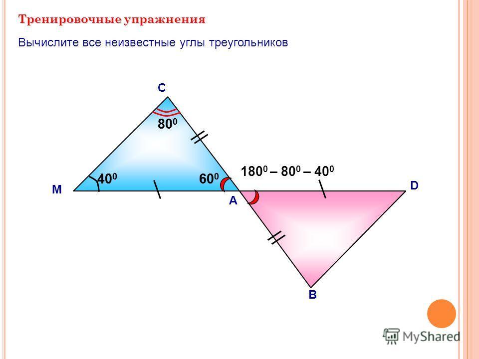 Тренировочные упражнения А С Вычислите все неизвестные углы треугольников М В D 180 0 – 80 0 – 40 0 40 0 80 0 60 0