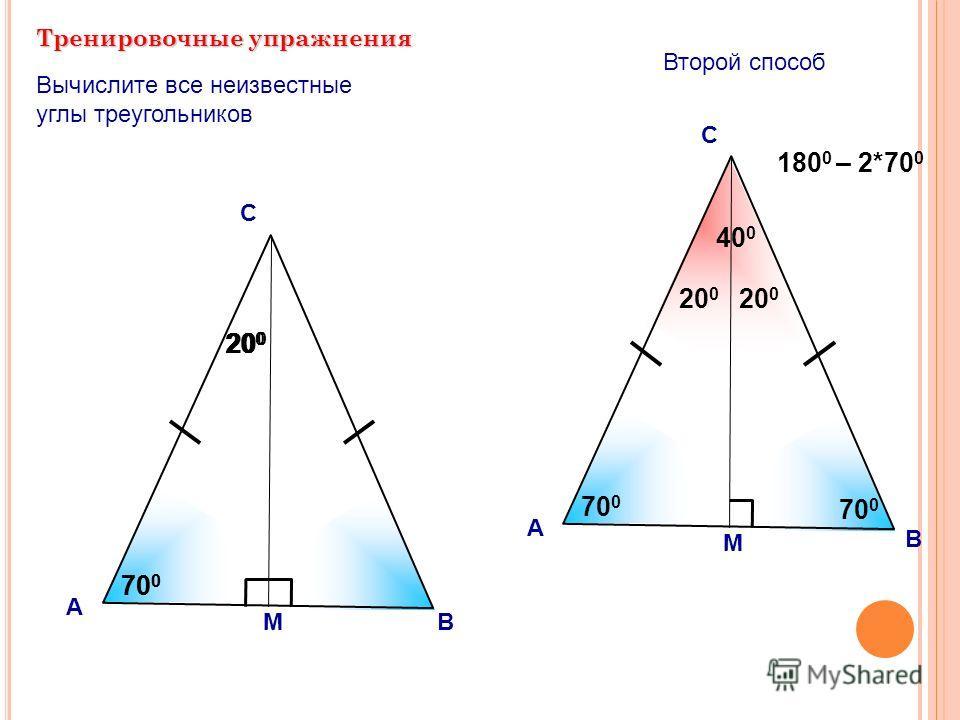 20 0 Тренировочные упражнения А С Вычислите все неизвестные углы треугольников 70 0 М 20 0 180 0 – 2*70 0 В А С 70 0 М В 40 0 20 0 Второй способ