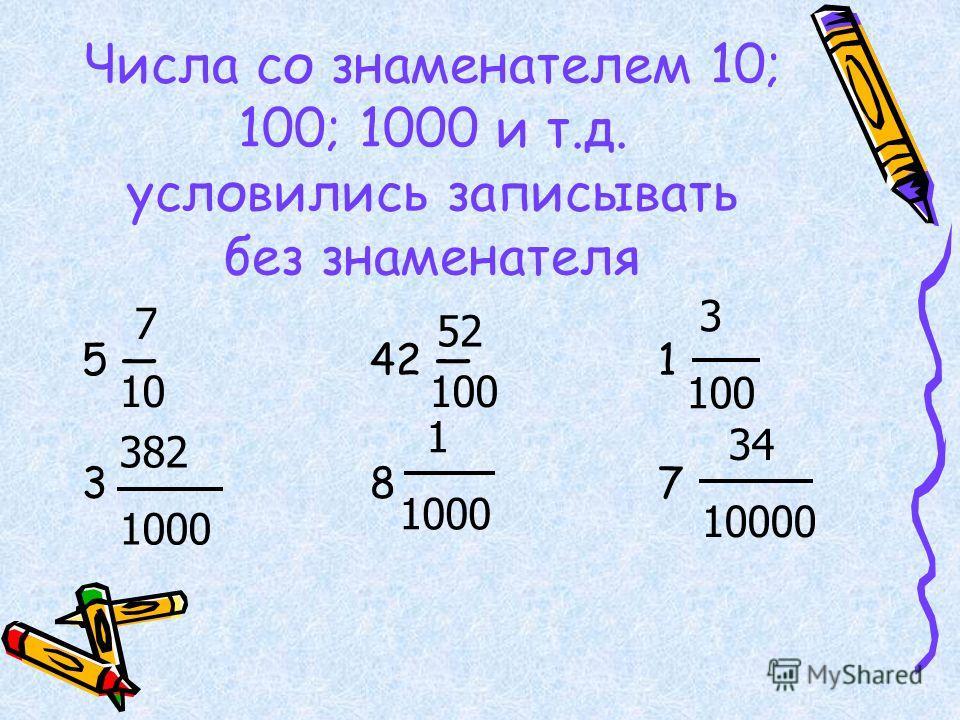 Числа со знаменателем 10; 100; 1000 и т.д. условились записывать без знаменателя 5 42 1 3 8 7 7 10 52 100 3 100 382 1000 1 1000 34 10000