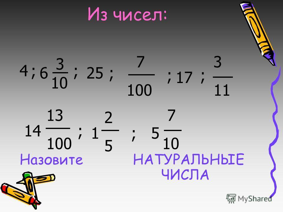 Из чисел: Назовите НАТУРАЛЬНЫЕ ЧИСЛА 3 10 7 100 3 11 2525 4; 6 ; 25; ; 17 ; 14 13 100 ; 1;5 7 10