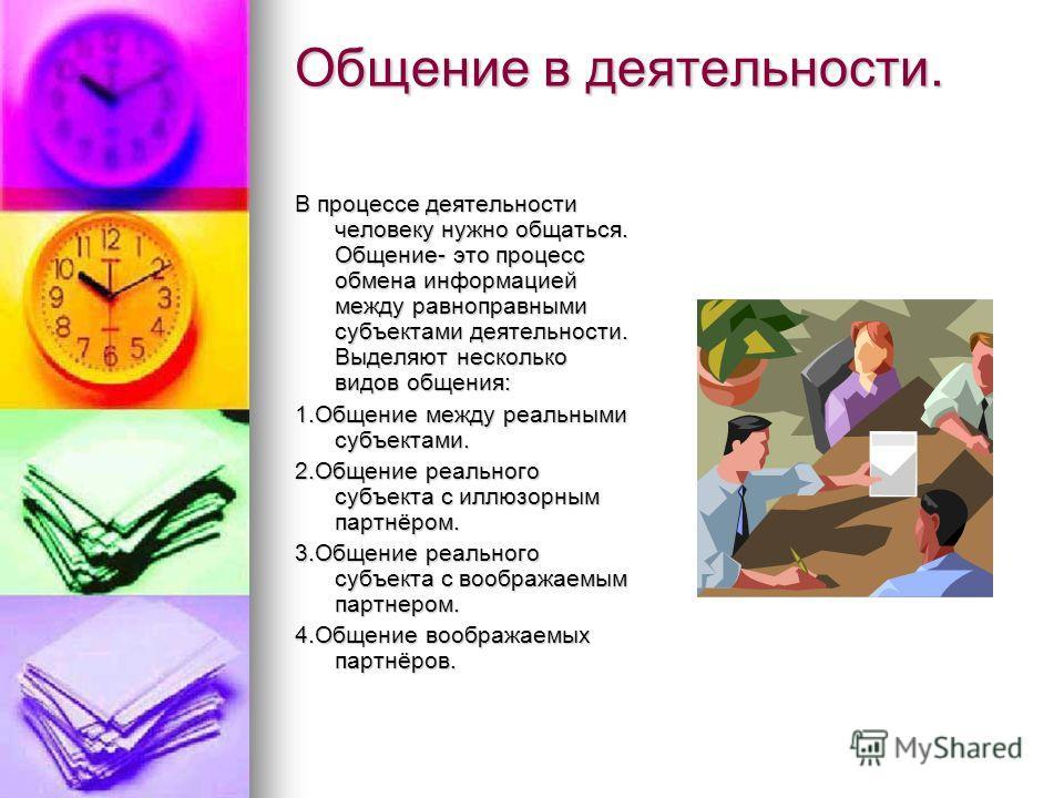 Общение в деятельности. В процессе деятельности человеку нужно общаться. Общение- это процесс обмена информацией между равноправными субъектами деятельности. Выделяют несколько видов общения: 1.Общение между реальными субъектами. 2.Общение реального