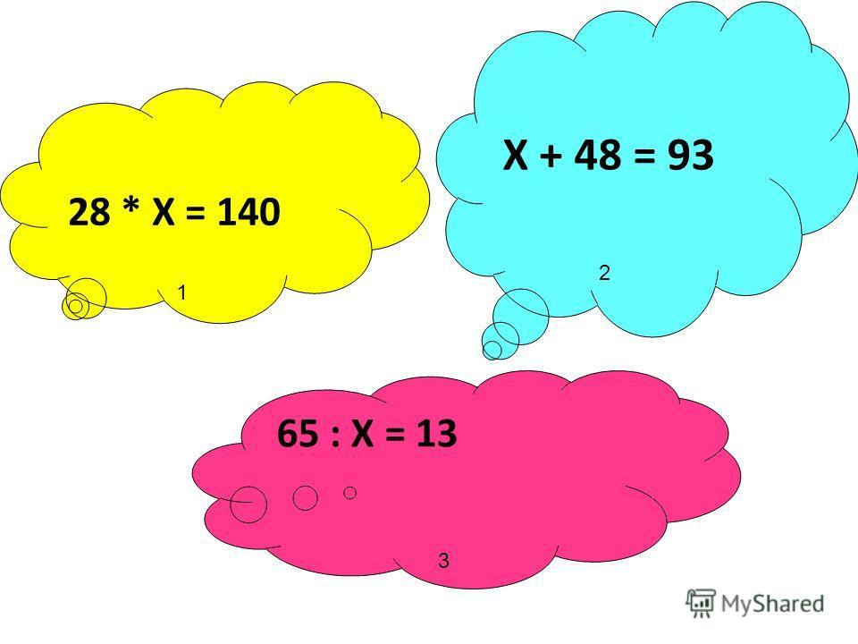 28 * Х = 140 Х + 48 = 93 65 : Х = 13 1 2 3