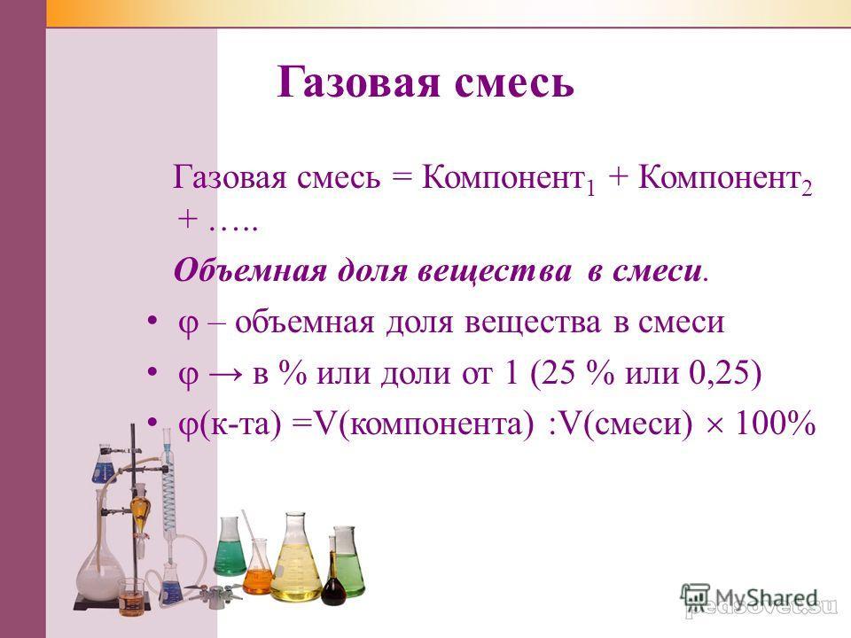 Газовая смесь Газовая смесь = Компонент 1 + Компонент 2 + ….. Объемная доля вещества в смеси. – объемная доля вещества в смеси в % или доли от 1 (25 % или 0,25) (к-та) =V(компонента) :V(смеси) 100%