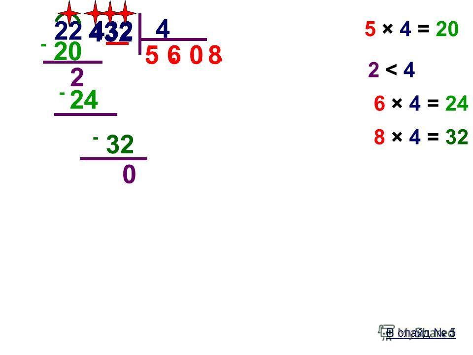 В слайд 5 22 432 4.. 5 5 × 4 = 20 - 20 2 2 < 42 < 4 4 6 6 × 4 = 24 - 24 32 08 8 × 4 = 32 - 32 0