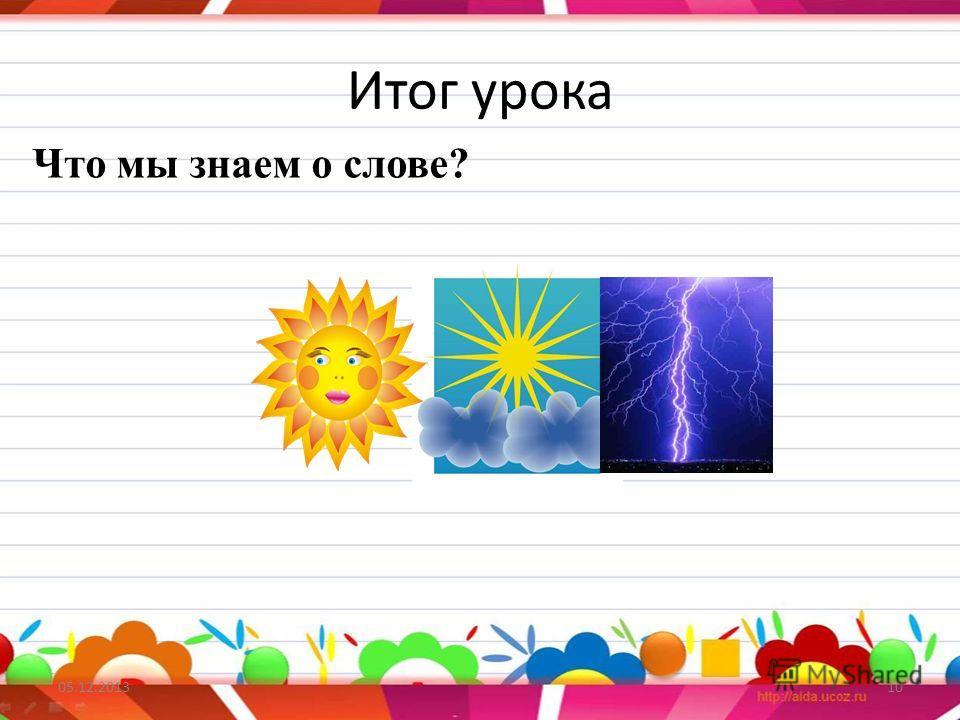 Итог урока 05.12.201310 Что мы знаем о слове?