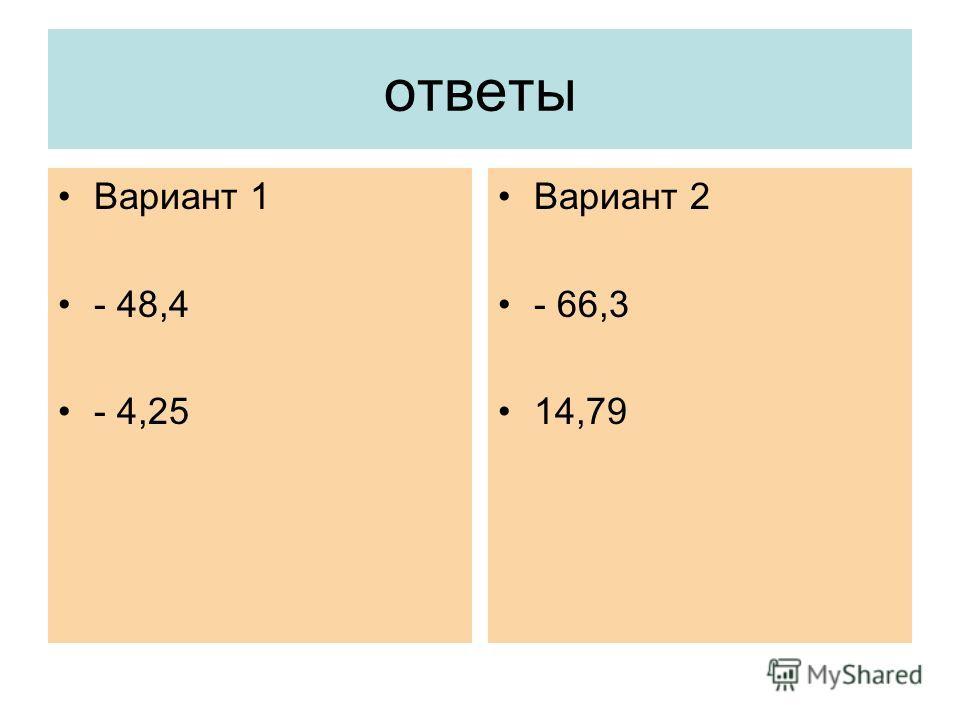 ответы Вариант 1 - 48,4 - 4,25 Вариант 2 - 66,3 14,79