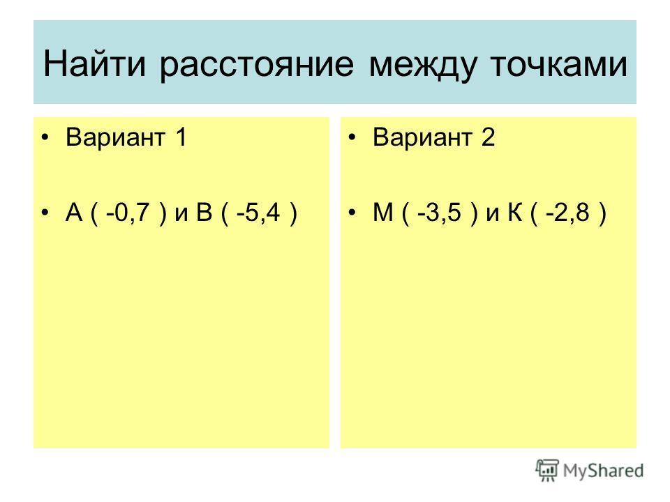 Найти расстояние между точками Вариант 1 А ( -0,7 ) и В ( -5,4 ) Вариант 2 М ( -3,5 ) и К ( -2,8 )