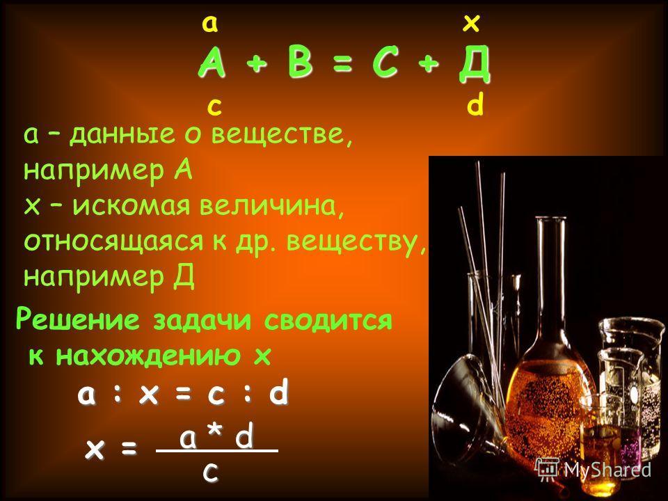 А + В = С + Д а х с d а – данные о веществе, например А х – искомая величина, относящаяся к др. веществу, например Д Решение задачи сводится к нахождению х а : х = с : d х = а * d c