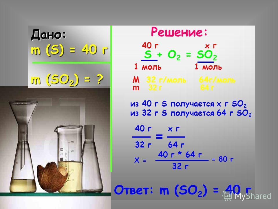 Дано: m (S) = 40 г m (SO 2 ) = ? Решение: S + O 2 = SO 2 40 г х г 1 моль М 32 г/моль 64г/моль из 40 г S получается х г SO 2 из 32 г S получается 64 г SO 2 40 г х г 32 г 64 г = Х = 40 г * 64 г 32 г = 80 г Ответ: m (SO 2 ) = 40 г m 32 г 64 г