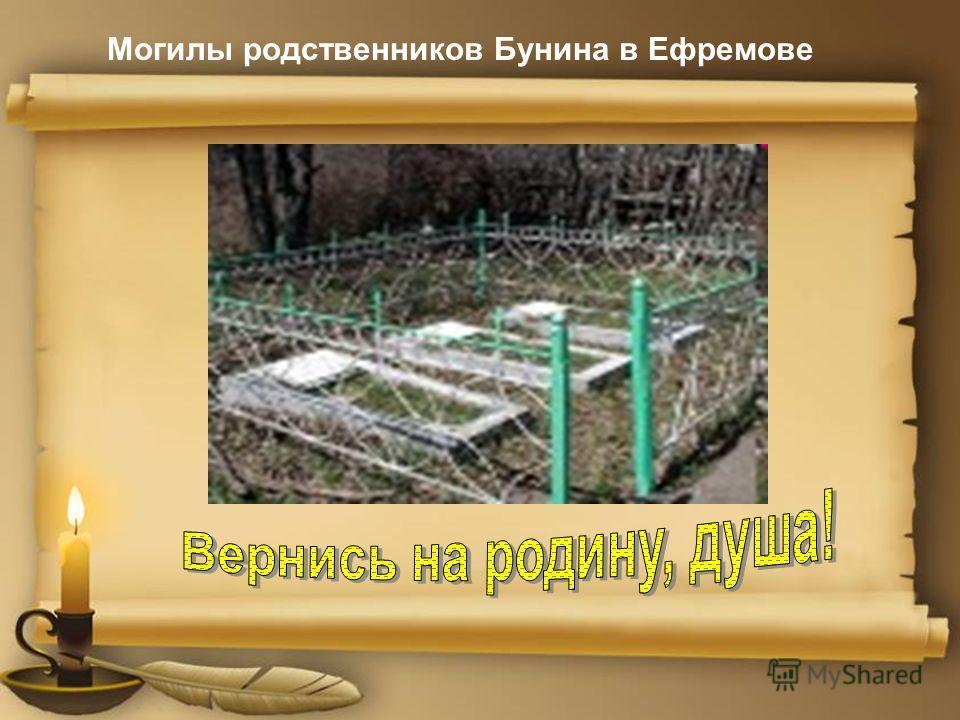 Могилы родственников Бунина в Ефремове