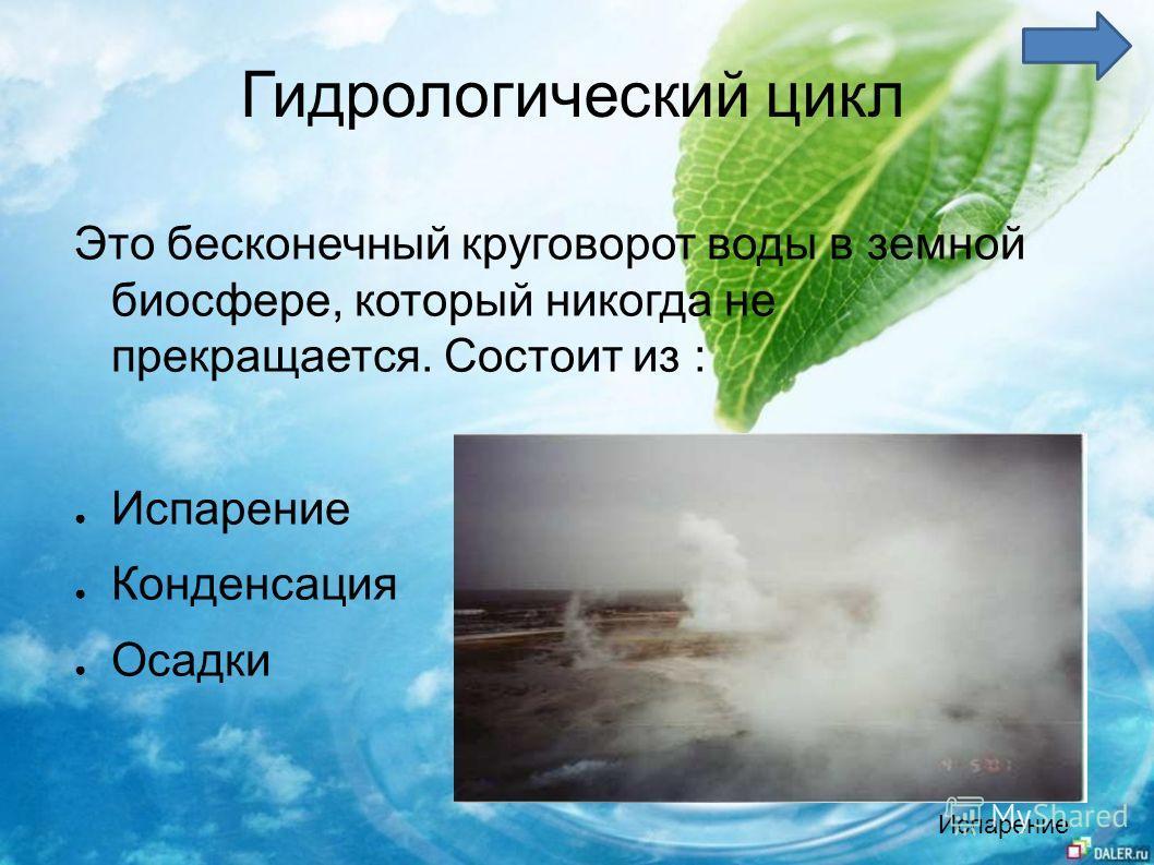 Гидрологический цикл Это бесконечный круговорот воды в земной биосфере, который никогда не прекращается. Состоит из : Испарение Конденсация Осадки Испарение