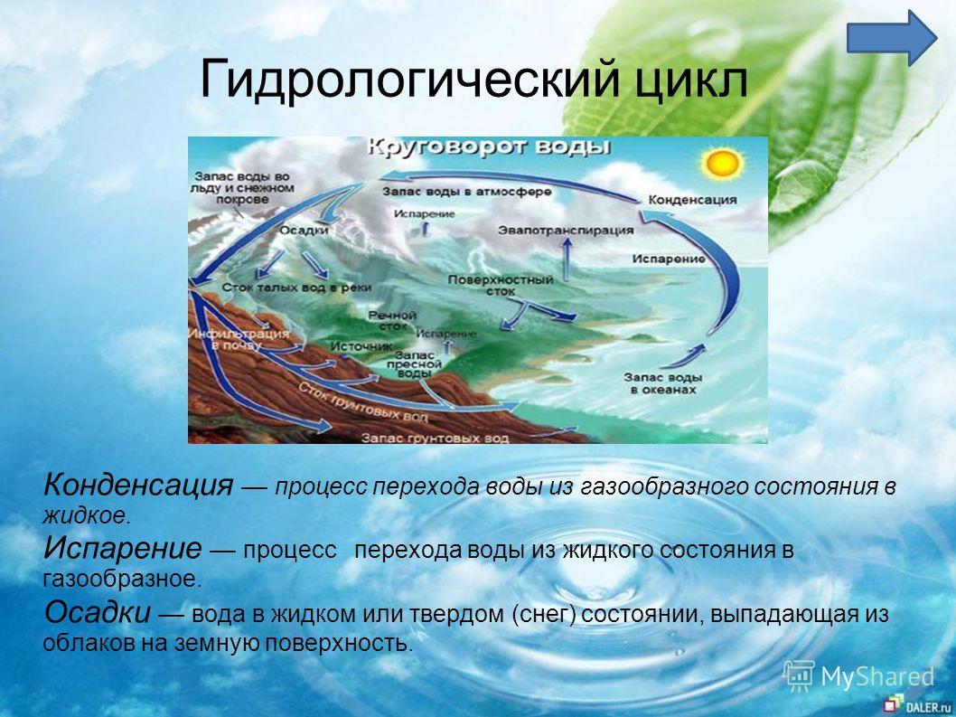 Гидрологический цикл Конденсация процесс перехода воды из газообразного состояния в жидкое. Испарение процесс перехода воды из жидкого состояния в газообразное. Осадки вода в жидком или твердом (снег) состоянии, выпадающая из облаков на земную поверх