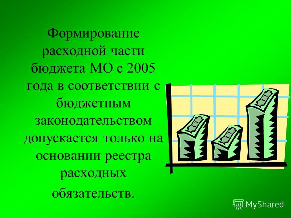Формирование расходной части бюджета МО с 2005 года в соответствии с бюджетным законодательством допускается только на основании реестра расходных обязательств.