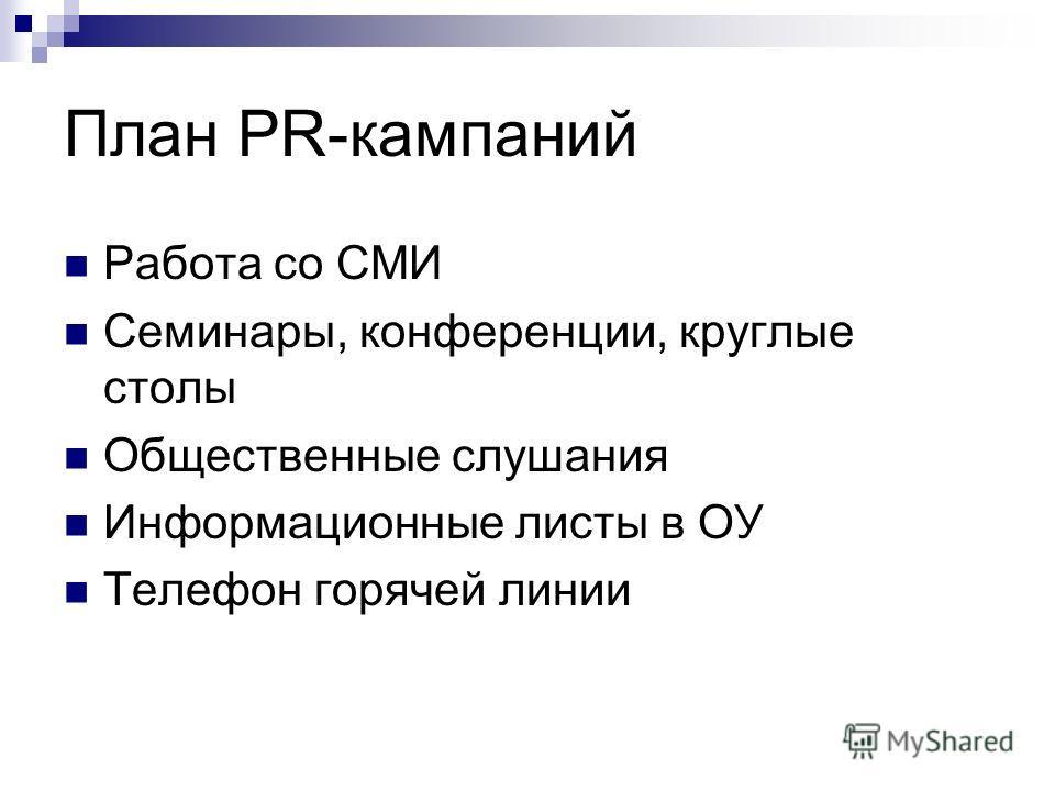 План PR-кампаний Работа со СМИ Семинары, конференции, круглые столы Общественные слушания Информационные листы в ОУ Телефон горячей линии
