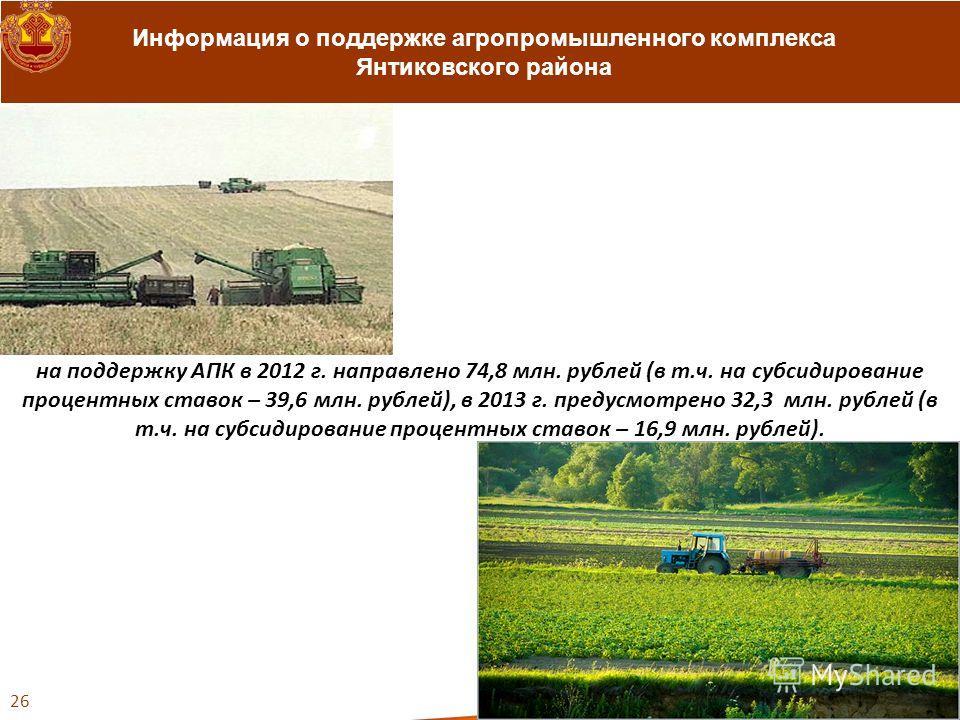 Информация о поддержке агропромышленного комплекса Янтиковского района 26 на поддержку АПК в 2012 г. направлено 74,8 млн. рублей (в т.ч. на субсидирование процентных ставок – 39,6 млн. рублей), в 2013 г. предусмотрено 32,3 млн. рублей (в т.ч. на субс