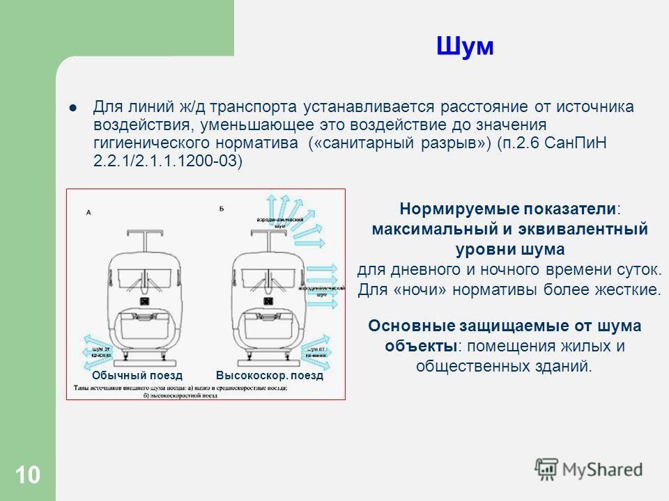 10 Шум Для линий ж/д транспорта устанавливается расстояние от источника воздействия, уменьшающее это воздействие до значения гигиенического норматива («санитарный разрыв») (п.2.6 СанПиН 2.2.1/2.1.1.1200-03) Нормируемые показатели: максимальный и экви