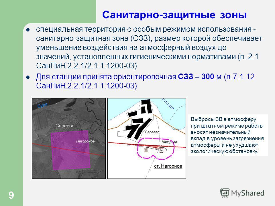 9 Санитарно-защитные зоны специальная территория с особым режимом использования - санитарно-защитная зона (СЗЗ), размер которой обеспечивает уменьшение воздействия на атмосферный воздух до значений, установленных гигиеническими нормативами (п. 2.1 Са