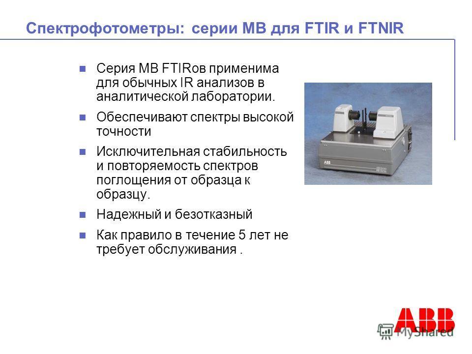 Спектрофотометры: серии МВ для FTIR и FTNIR Серия МВ FTIRов применима для обычных IR анализов в аналитической лаборатории. Обеспечивают спектры высокой точности Исключительная стабильность и повторяемость спектров поглощения от образца к образцу. Над